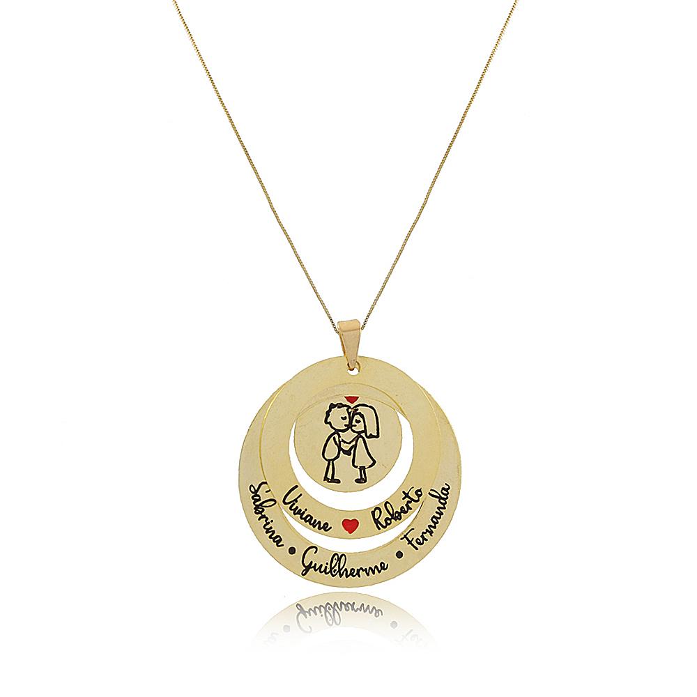 Colar Personalizado Mandala  em Círculos Folheado em Ouro 18K