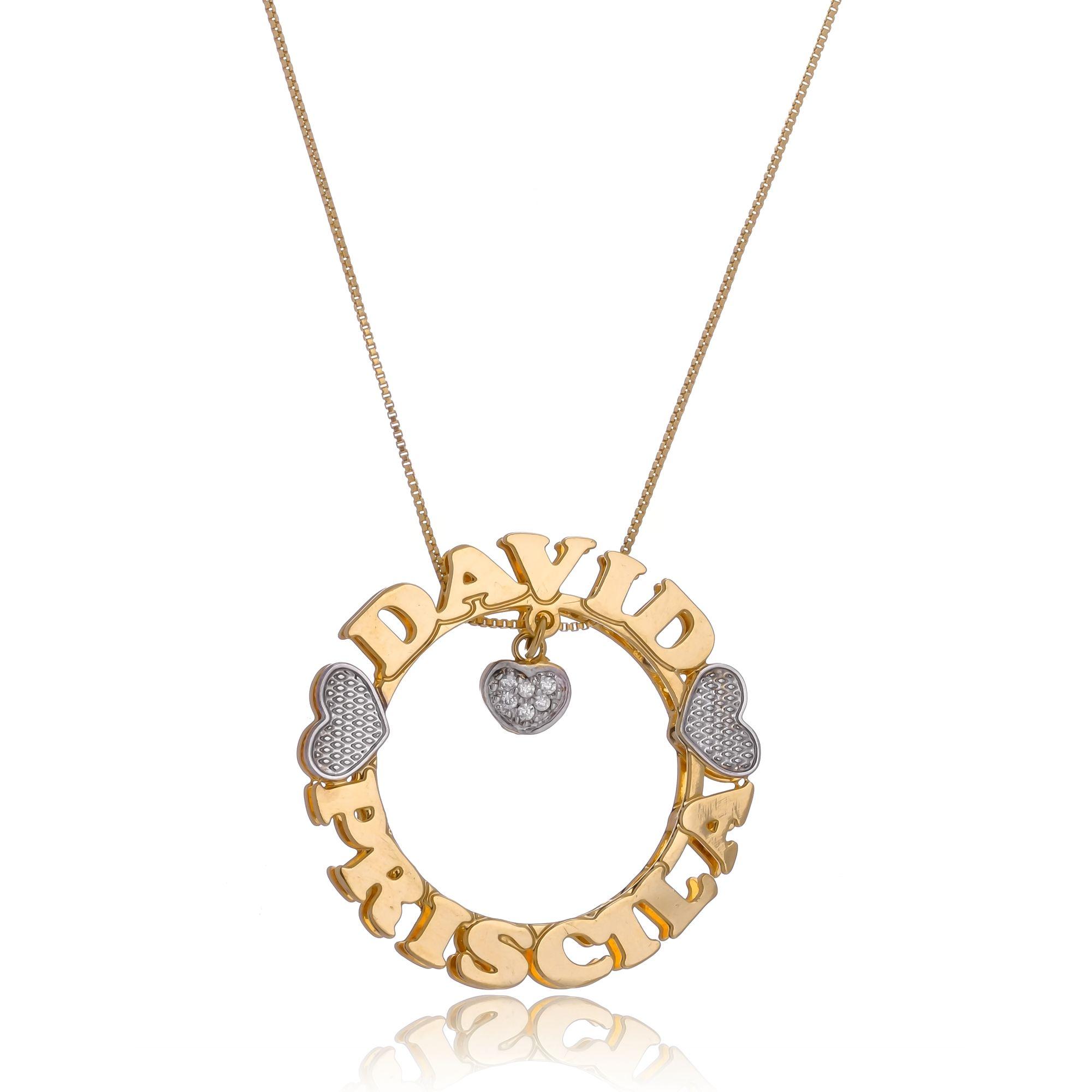 Colar Personalizado Mandala Envolvido pelos Nomes e Pingente de Coração com Ponto de Luz em Zircônia