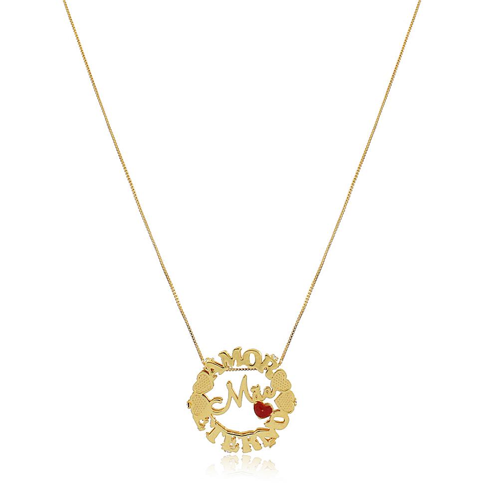 Colar Personalizado Mandala Mãe Amor Eterno Folheado em Ouro 18K
