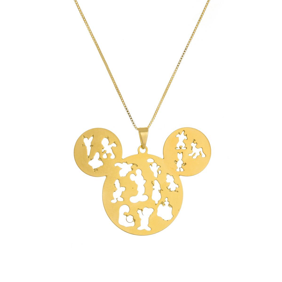 Colar Personalizado Mickey Com Personagens Vazados Folheado em Ouro 18k