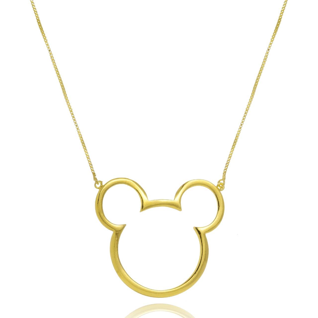 Colar Personalizado Mickey e Miney Vazado Folheado em Ouro 18K