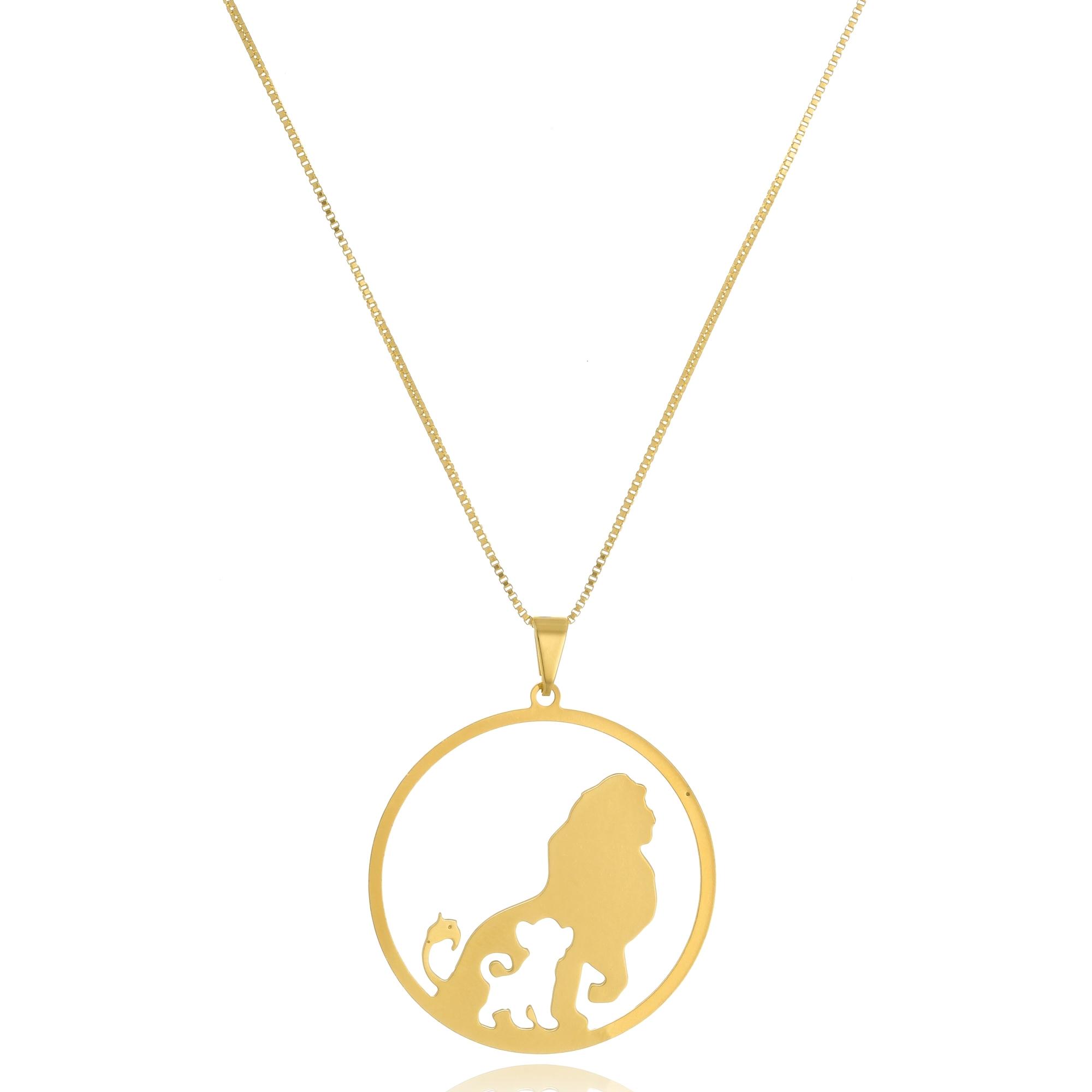 Colar Personalizado Mufasa e Simba Rei Leão  Folheado em Ouro 18k