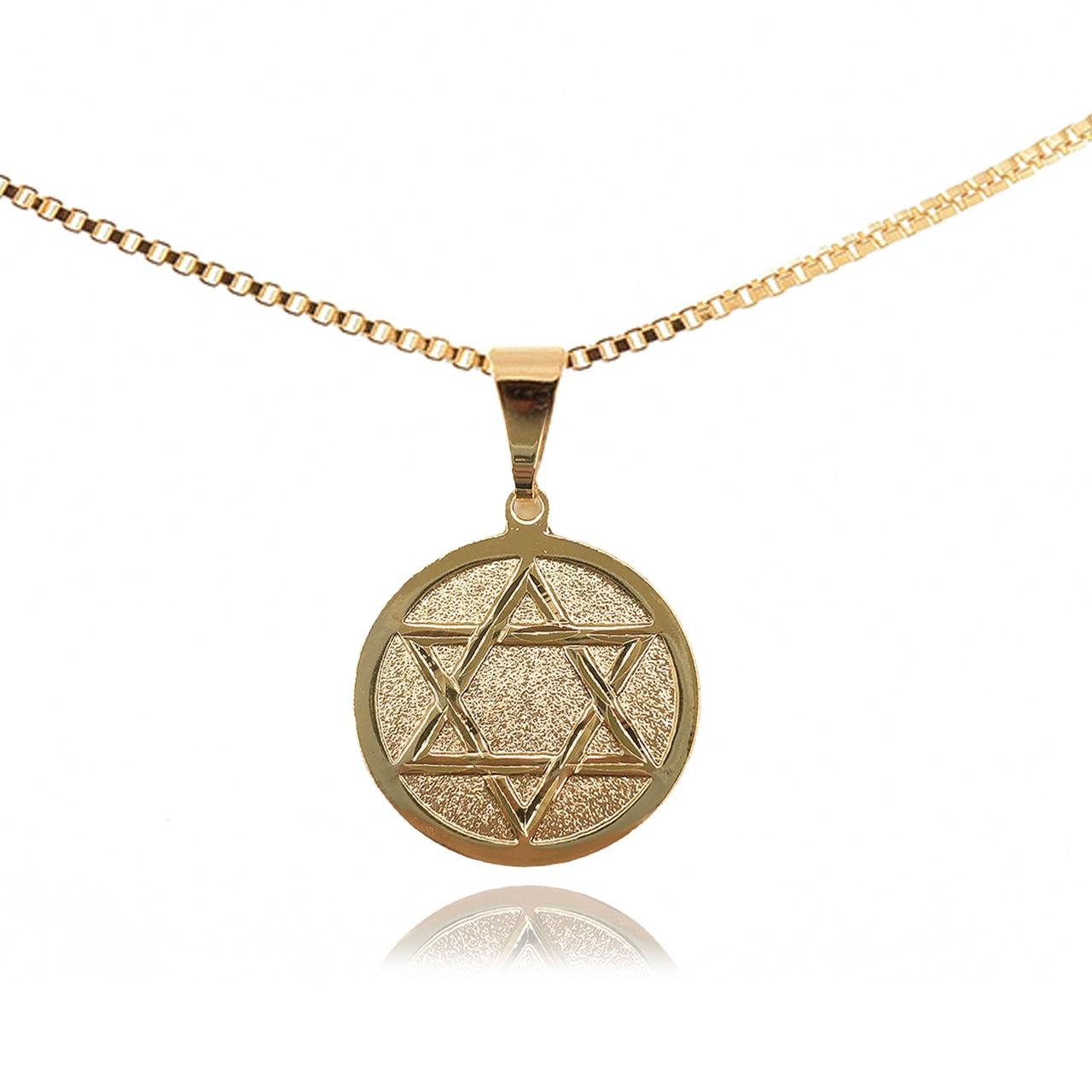 Pingente Estrela de Davi Folheado em Ouro 18K