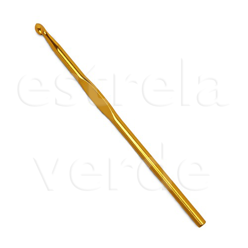 Agulha Croche Aluminio Amarela N.3,0mm  - Estrela Verde