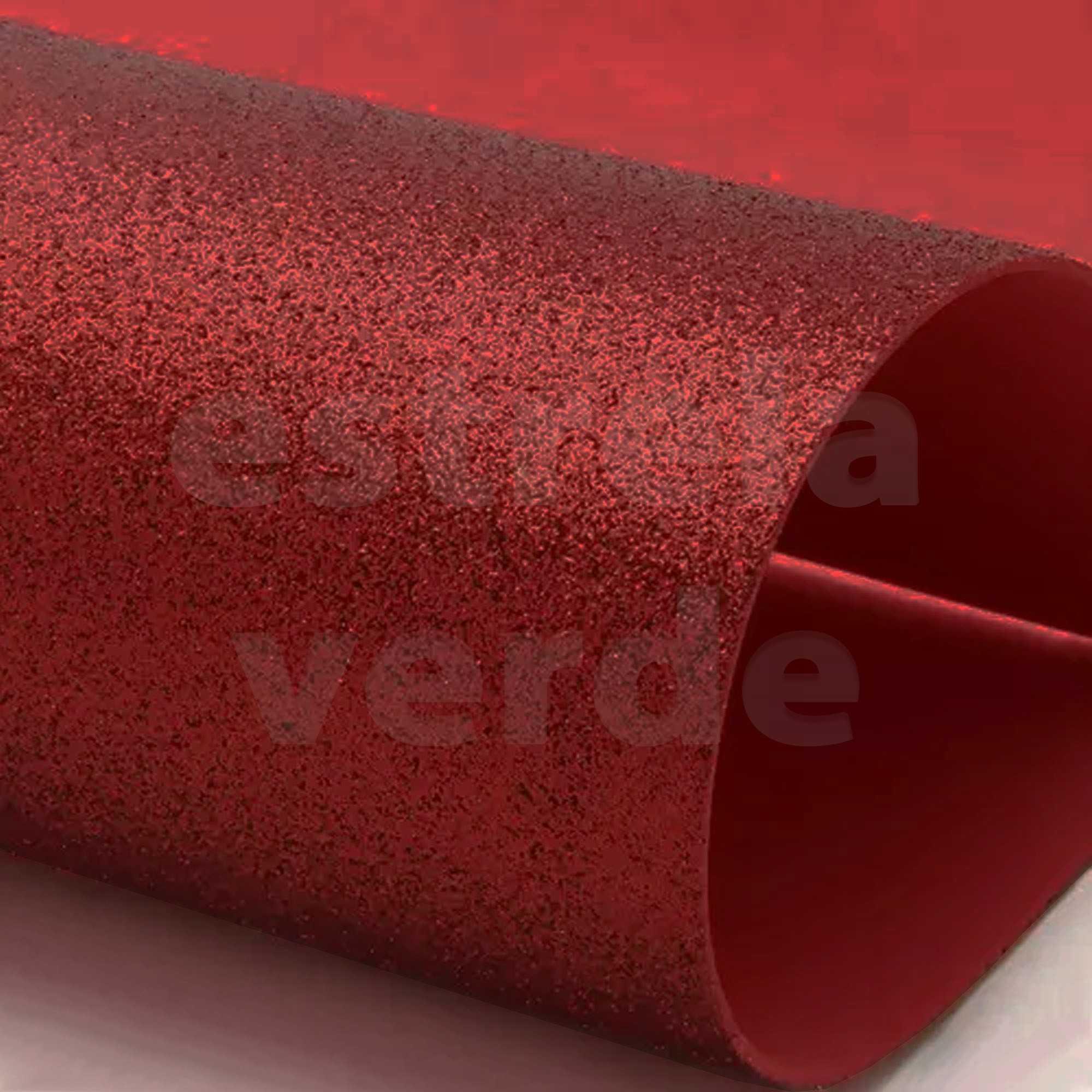 EVA GLITTER 40X60 VERMELHO 2MM  - Estrela Verde