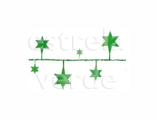 FIO METALIZADO FANTASIA ESTRELA GRANDE VERDE 2,70M  - Estrela Verde