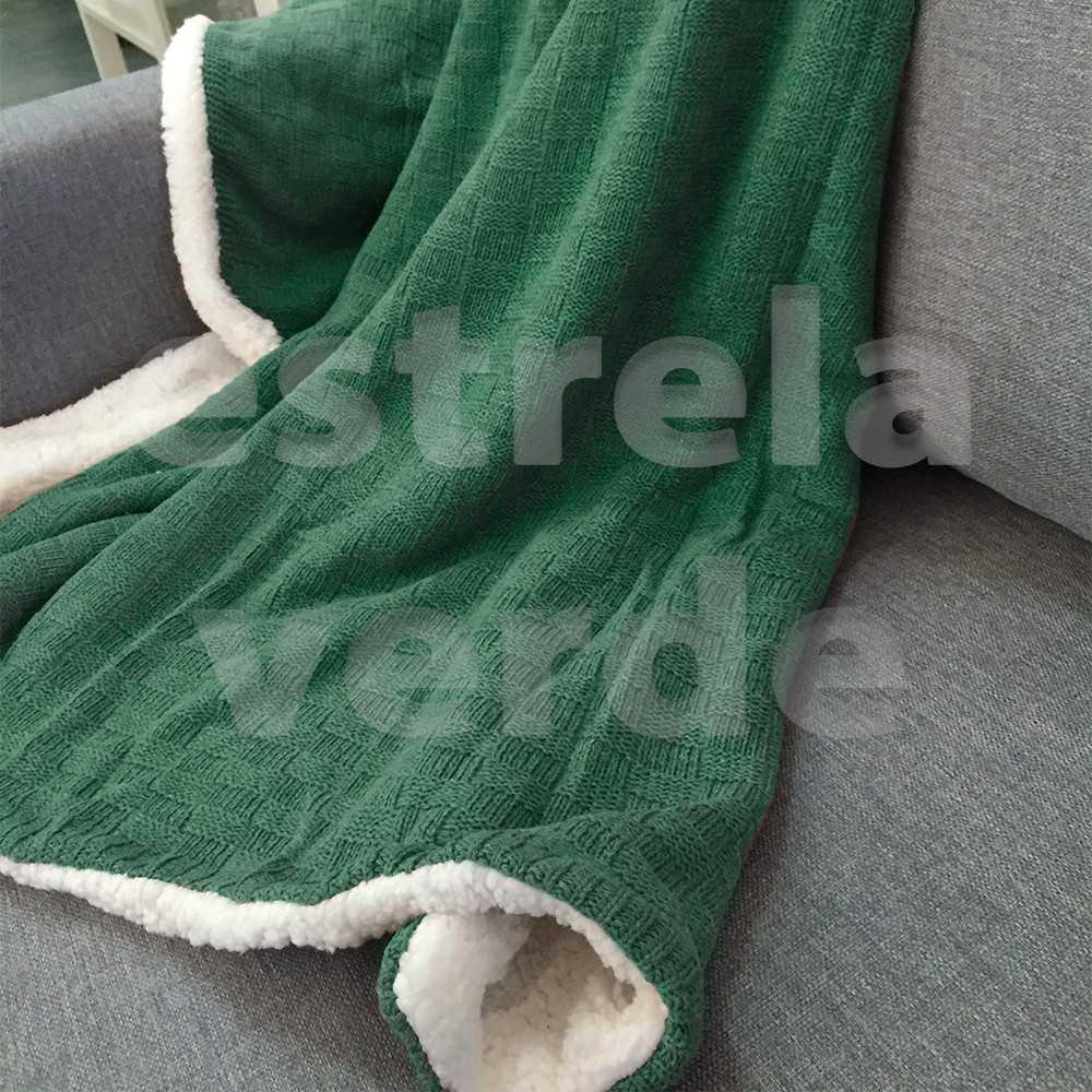 MANTA TRICOT QUADRICULADA VERDE SHERPA 1,27X1,52  - Estrela Verde