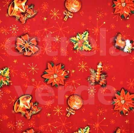 Oxford Estampado 089/476 Natal Vermelha Simbolos  - Estrela Verde
