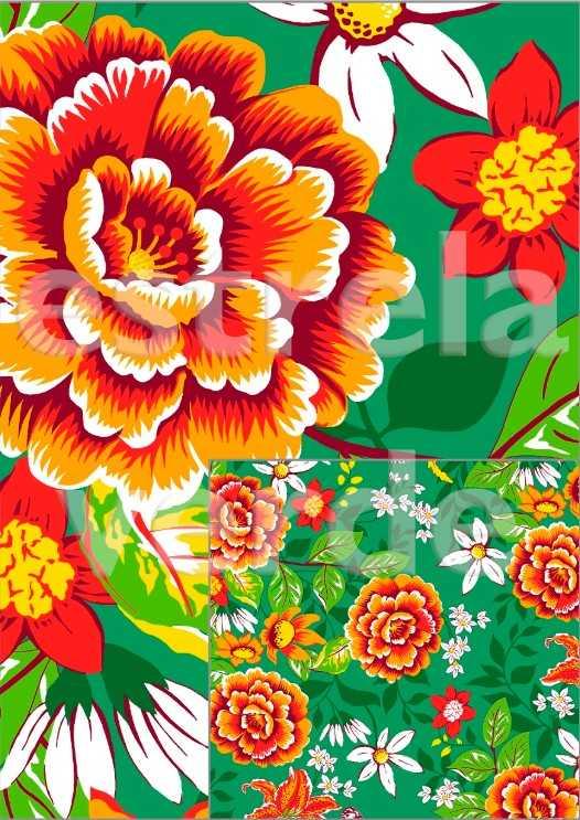 TECIDO CHITAO 2505/1 FLORES LARANJA/ VERDE 1,40 LA  - Estrela Verde