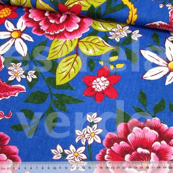 TECIDO CHITAO 2505/3 FLORES ROSA/ AZUL 1,40 LARG  - Estrela Verde