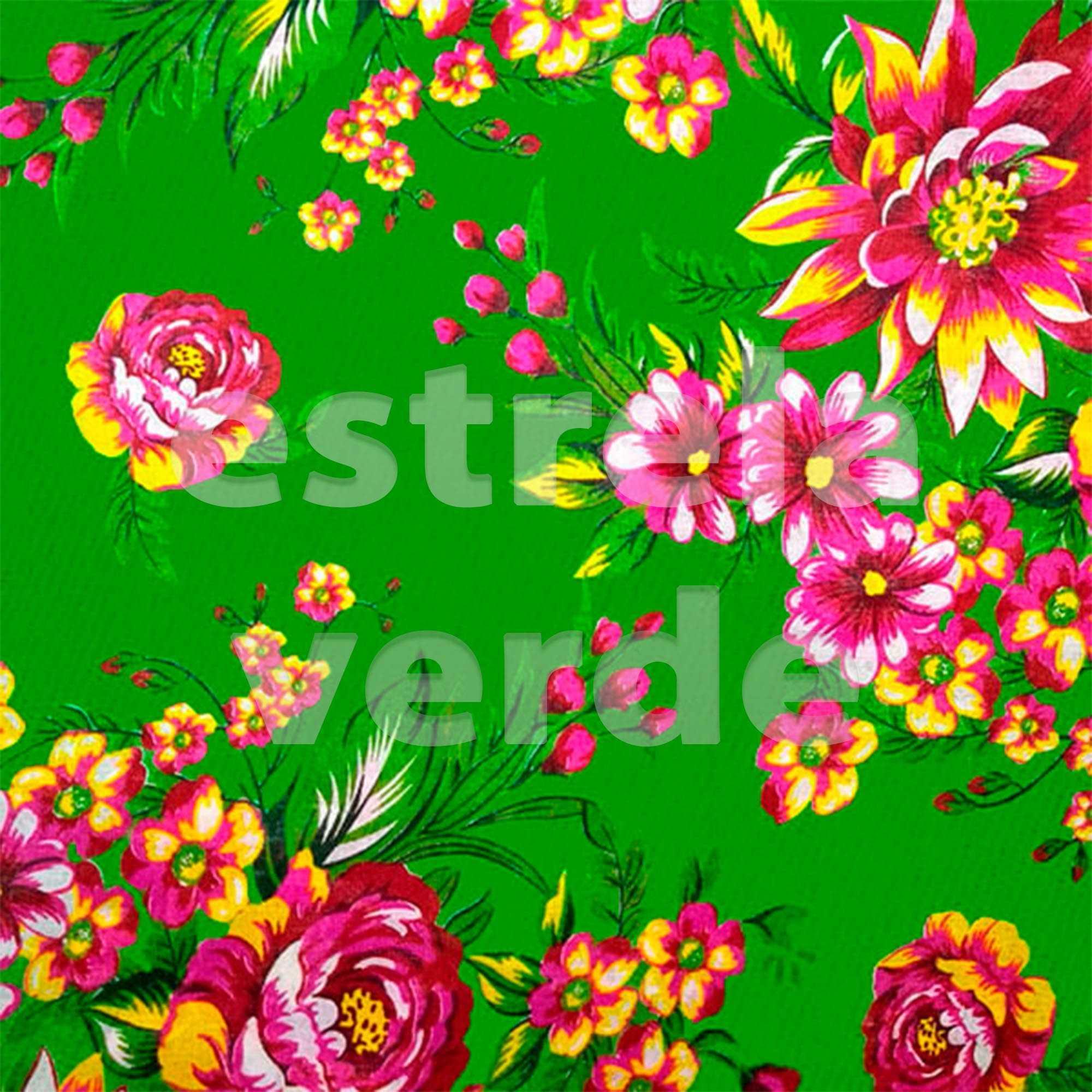 TECIDO CHITAO 2613/3 LILAS/VERDE 1,40 LARG  - Estrela Verde
