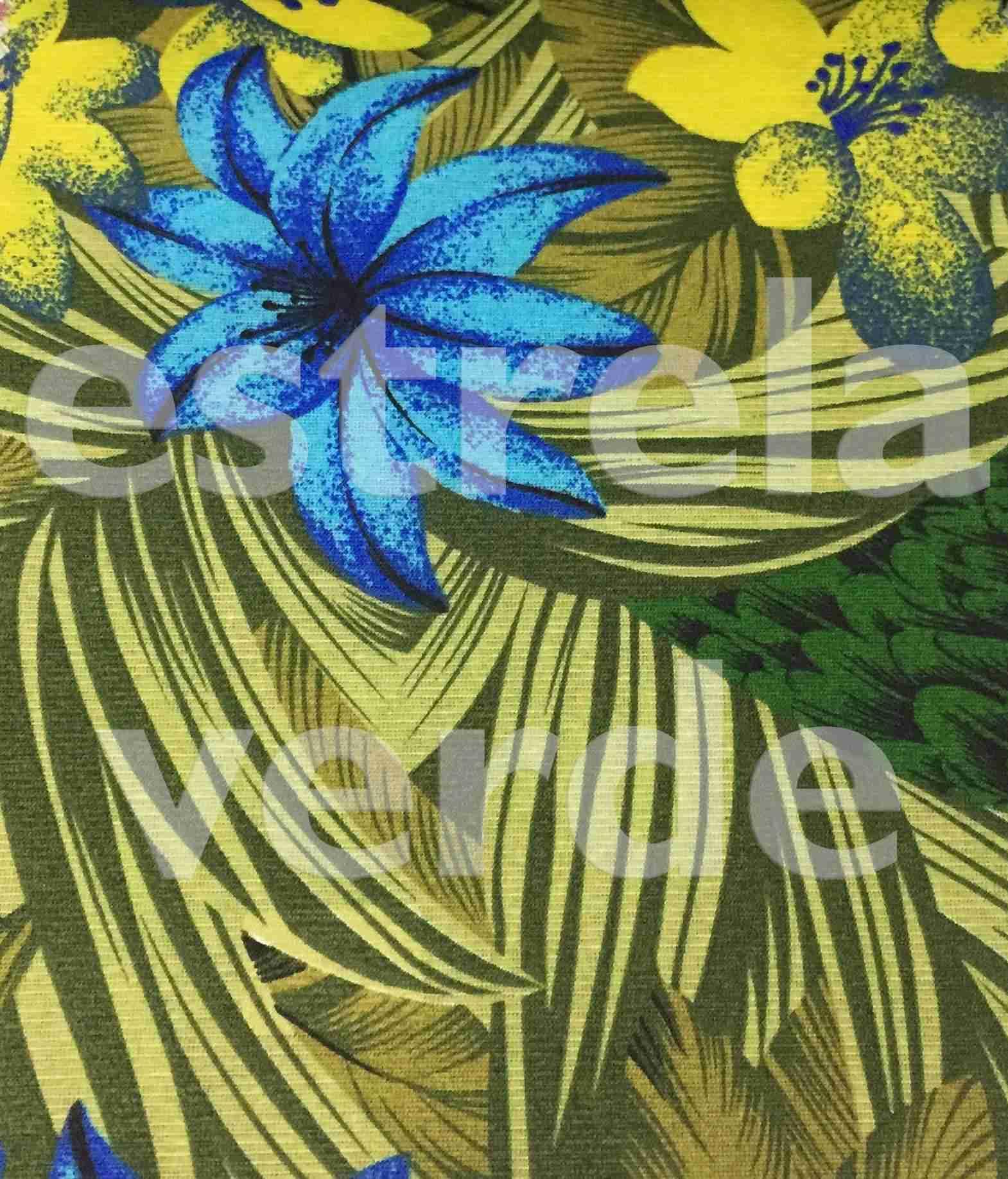 TECIDO GORGURINHO FLORAL AZUL (40-8214-02) 1,50 LA  - Estrela Verde