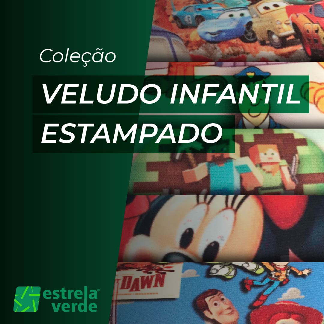 VELUDO ESTAMPADO INFANTIL 1,40  - Estrela Verde