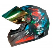 Capacete FW3 GT Skull Caveira Preto Fosco Brilha no Escuro