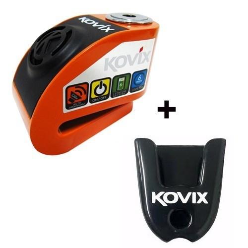 Cadeado Disco C/ Alarme Kovix Kd6 Laranja Com Suporte Guidão