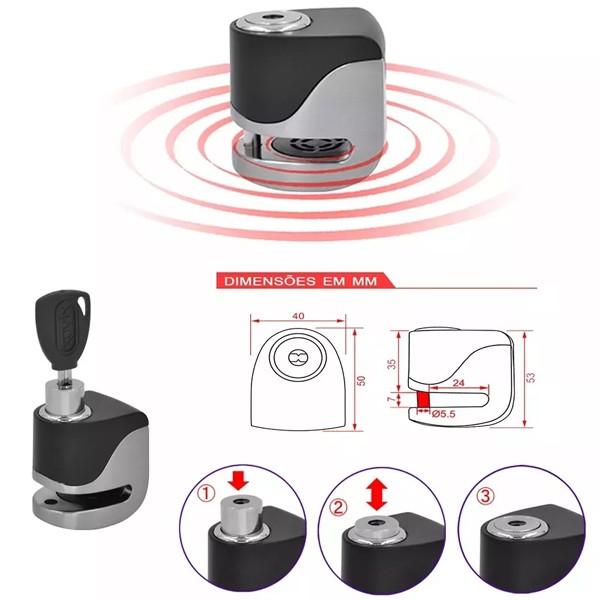 Cadeado Disco c/ Alarme Kovix KS6 - Aço escovado