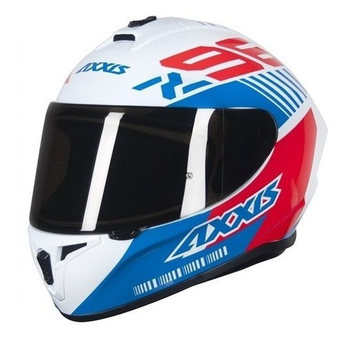 Capacete Axxis Draken Z96 Branco/ Vermelho/ Azul