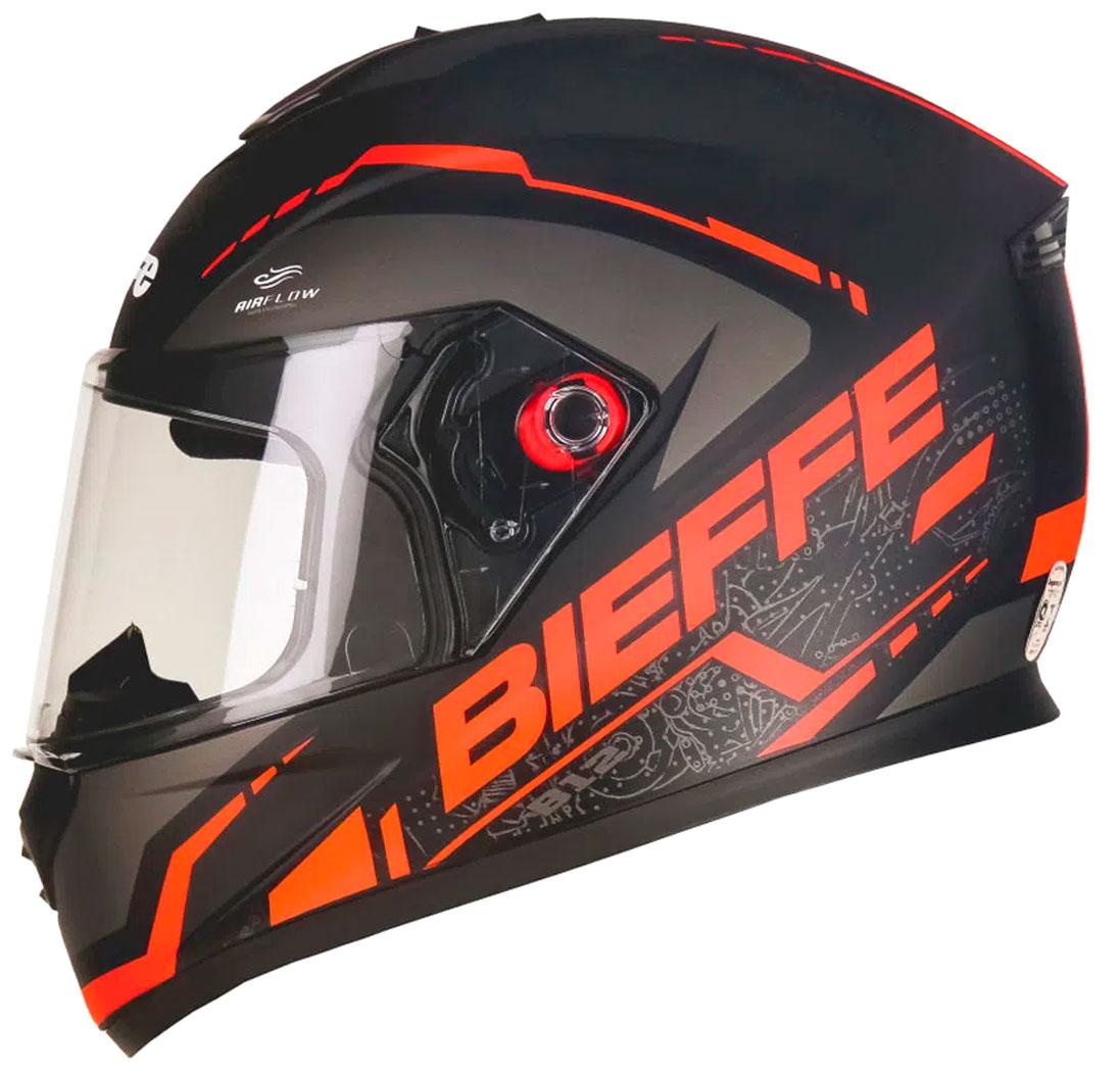 Capacete Bieffe B-12 Naked Preto Vermelho Fosco