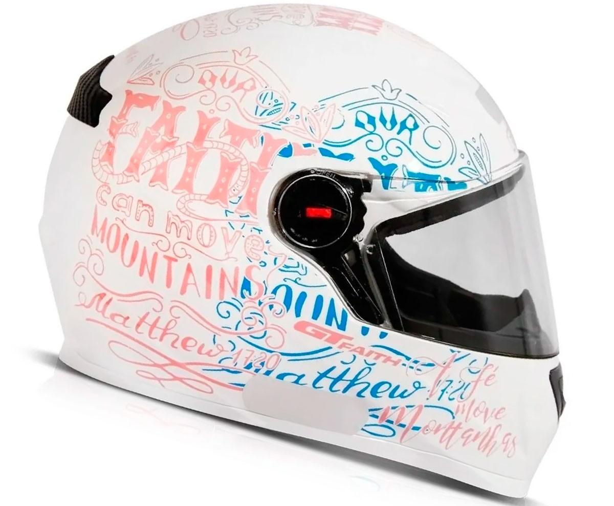 Capacete FW3 GT Faith Branco Rosa