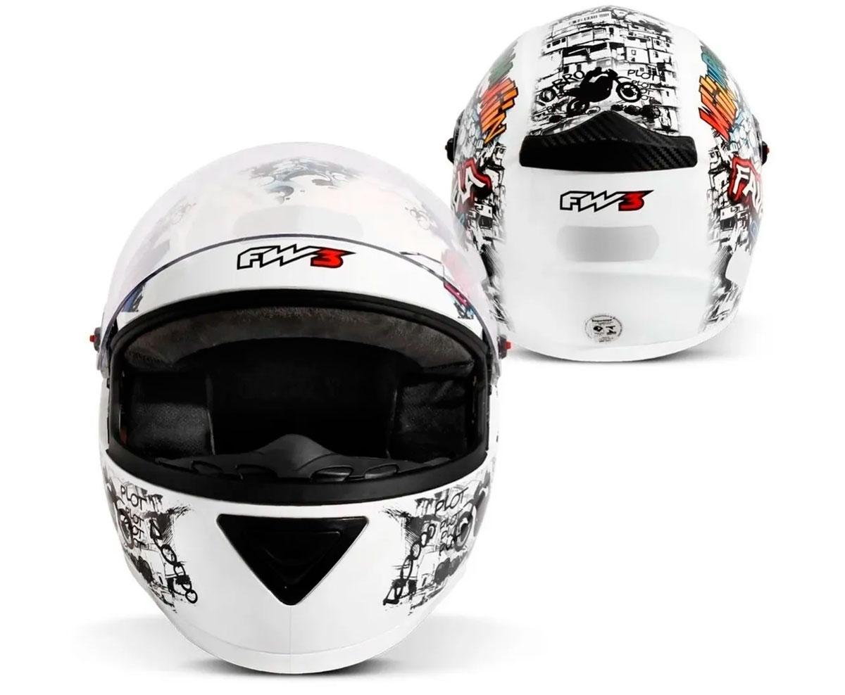Capacete FW3 GT Favela Branco