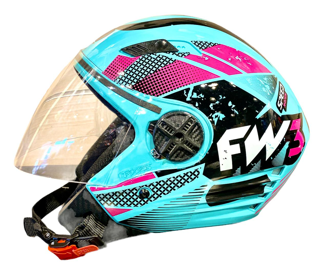Capacete FW3 X Open Aberto Speed Azul Tiffany Rosa
