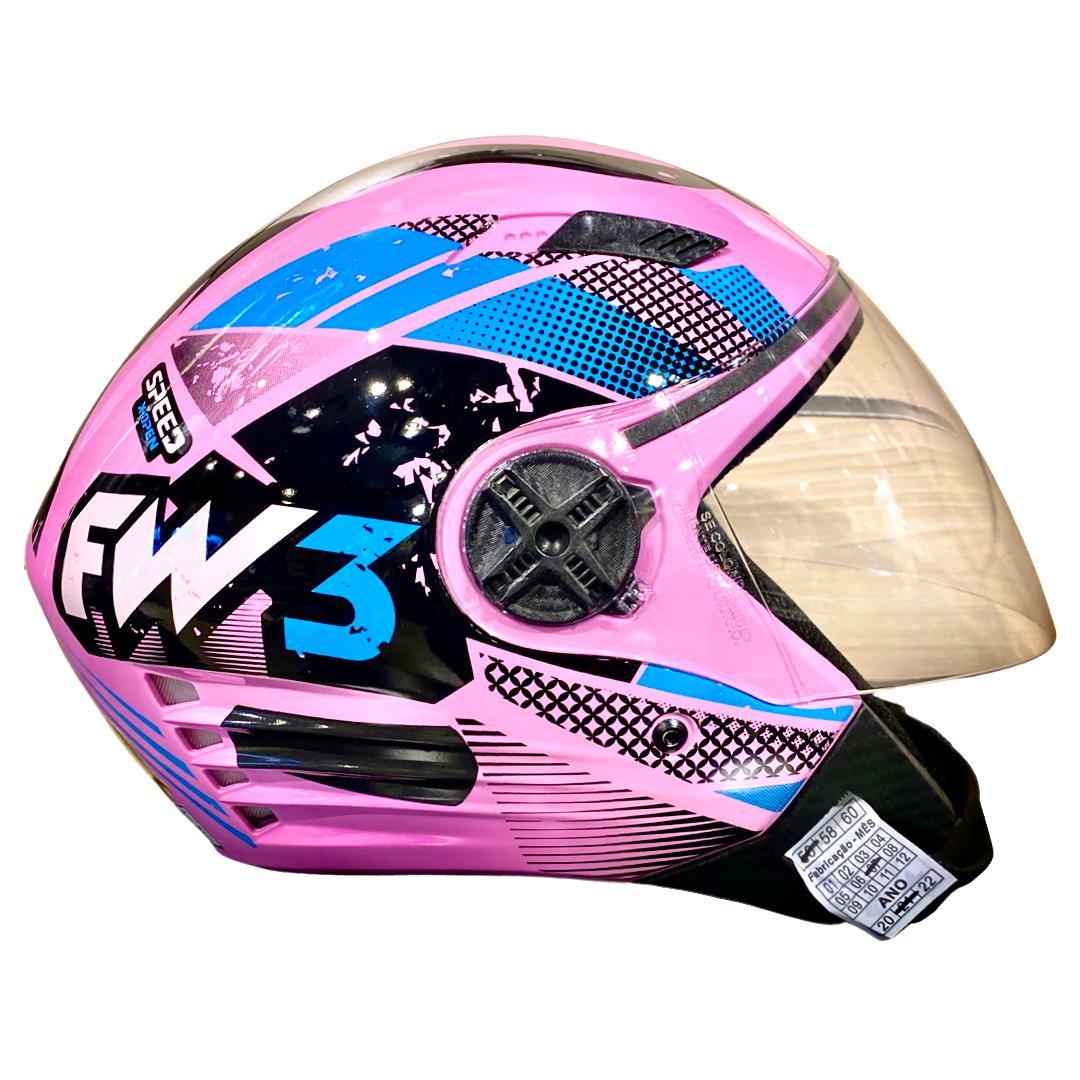 Capacete FW3 X Open Aberto Speed Rosa