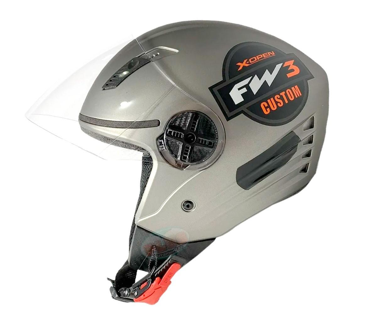 Capacete FW3 X Open Custom Prata Laranja