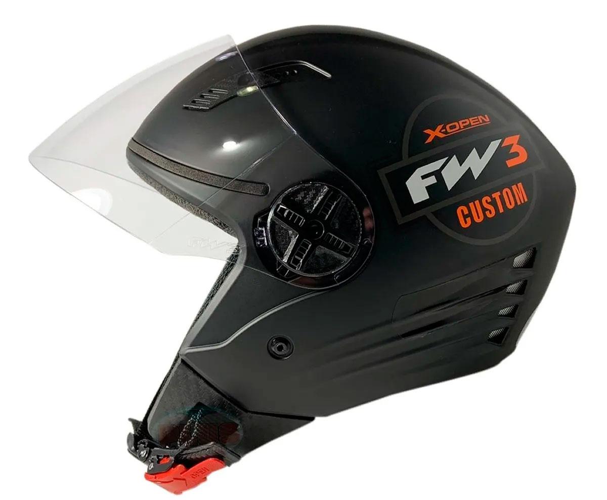 Capacete FW3 X Open Custom Preto Laranja