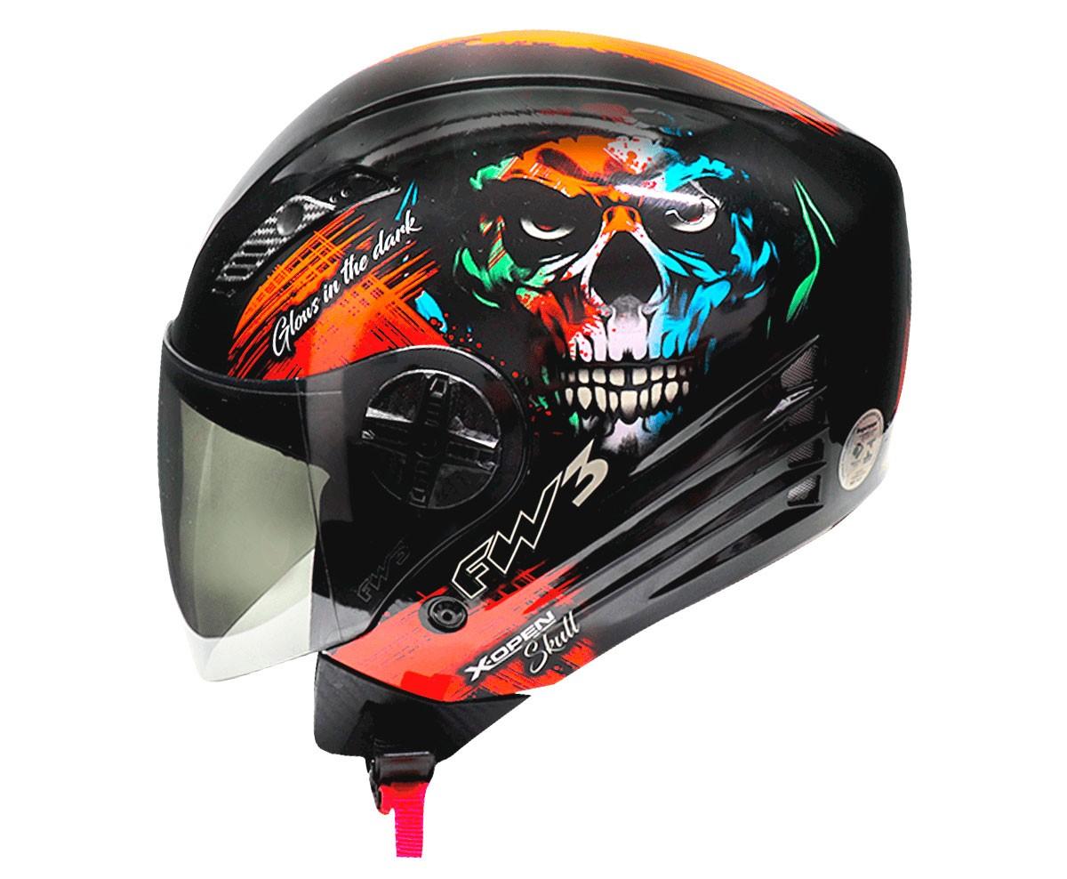 Capacete FW3 X Open Skull Preto Brilhante