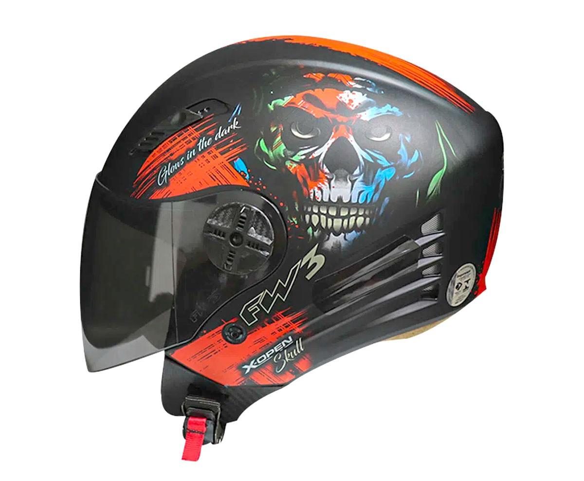 Capacete FW3 X Open Skull Preto Fosco