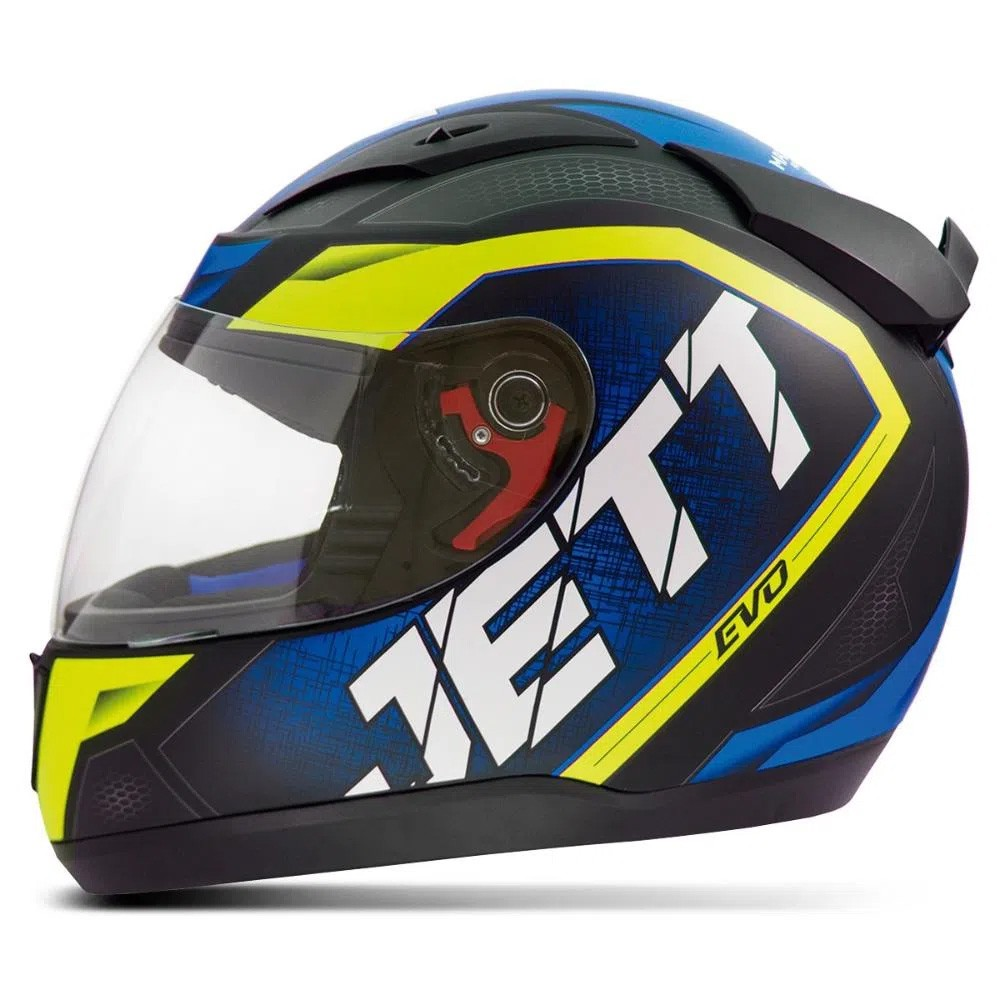 Capacete Jett Evo Line Azul/ Amarelo