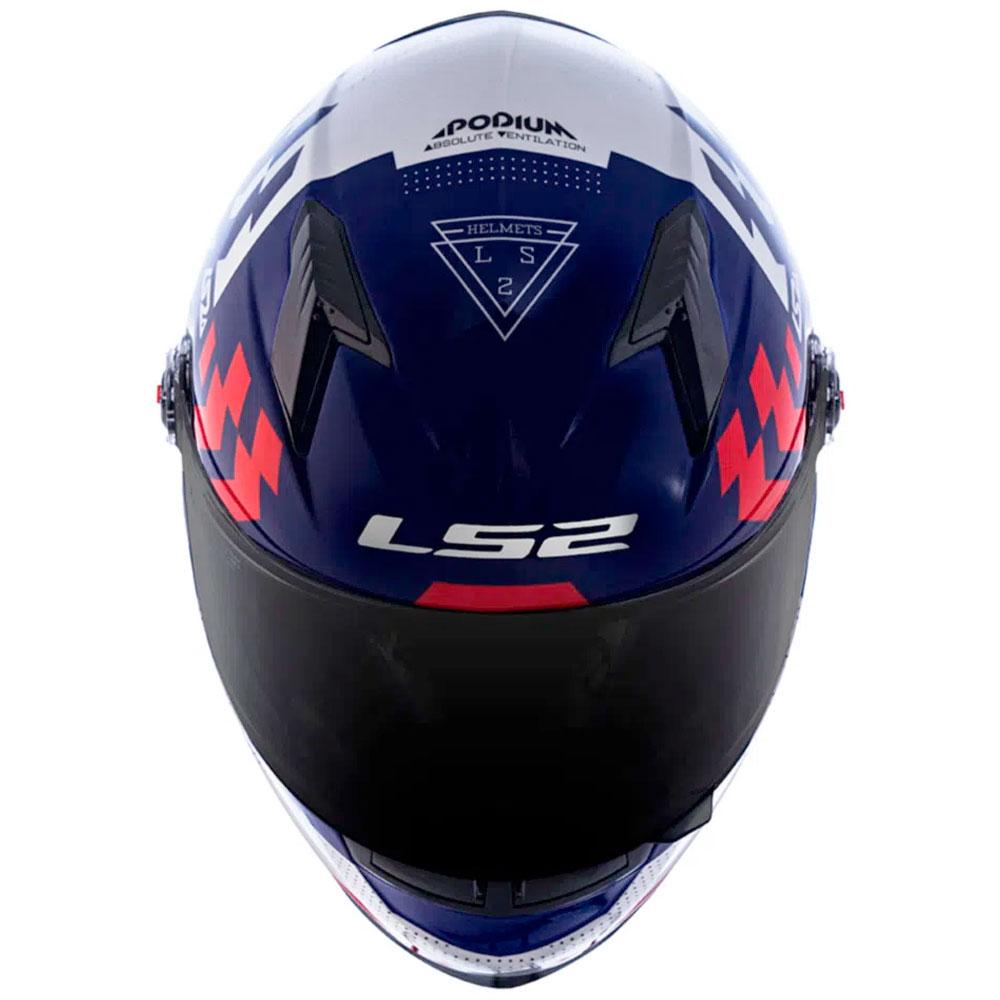 Capacete LS2 FF358 Classic Podium Branco Azul Vermelho