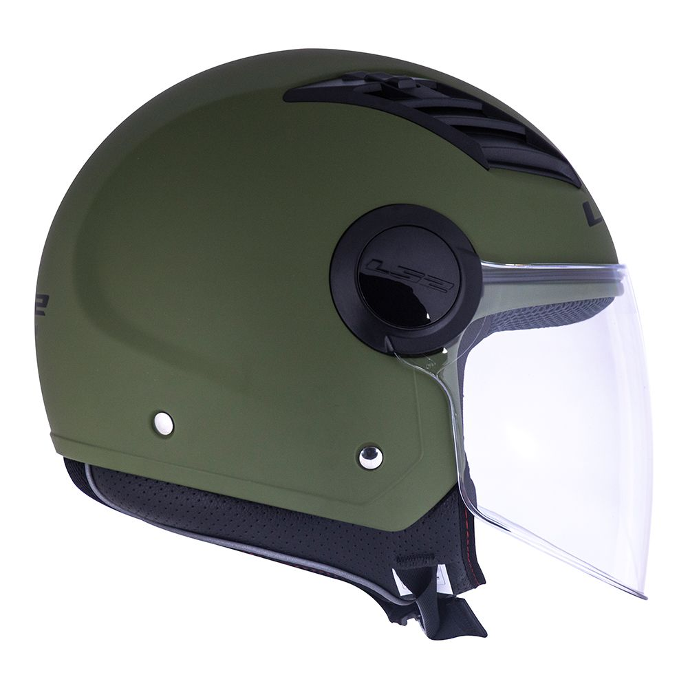 Capacete LS2 OF562 Airflow Monocolor Verde Militar Fosco Aberto
