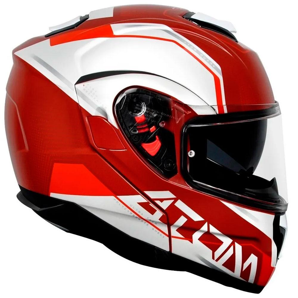 Capacete MT Atom SV Quarq Escamoteável Vermelho Branco