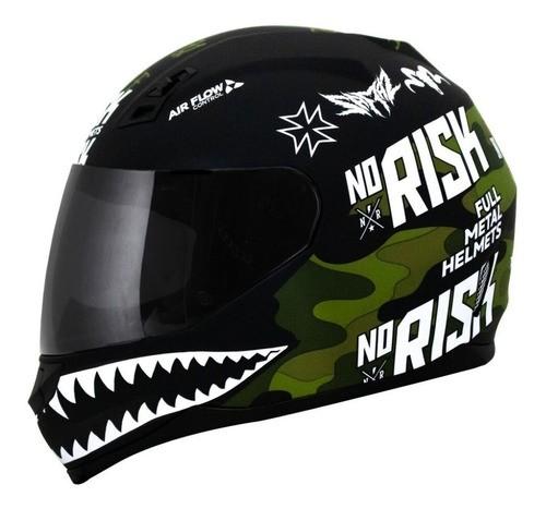 Capacete Norisk Ff391 Ride Hard Preto Verde Camo Fosco