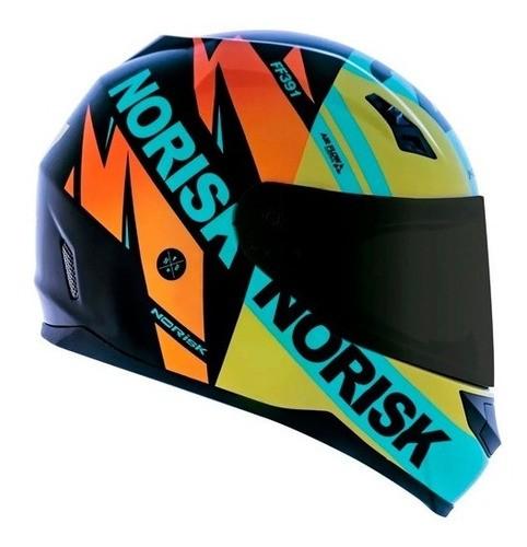 Capacete Norisk Ff391 Stunt Furious Amarelo Azul