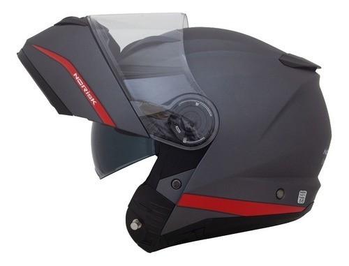 Capacete Norisk Force Escamoteável Cinza Titanium Red