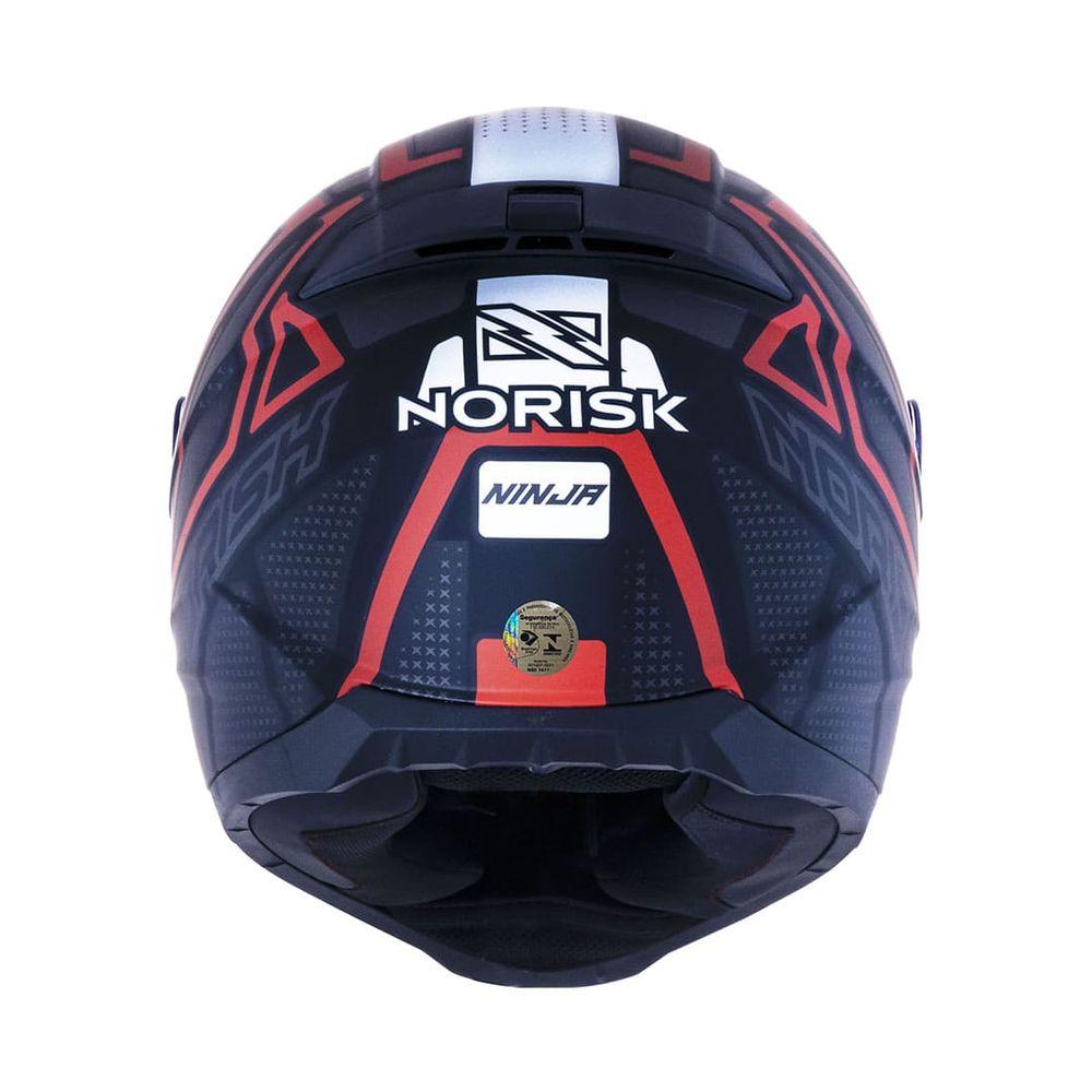 Capacete Norisk Razor Ninja Matt Preto Titanium Vermelho Fosco