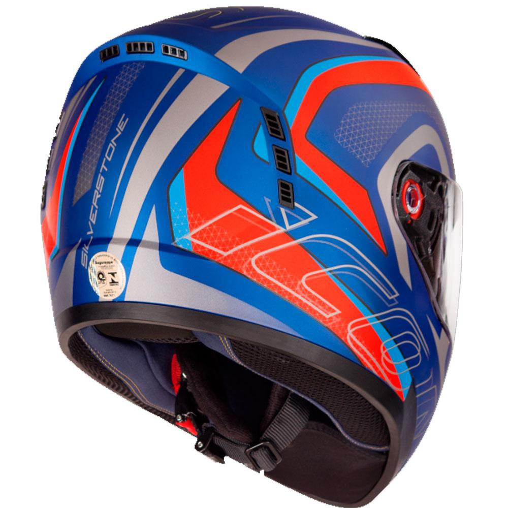 Capacete Peels Icon Silverstone Viseira Solar Azul Vermelho Fosco