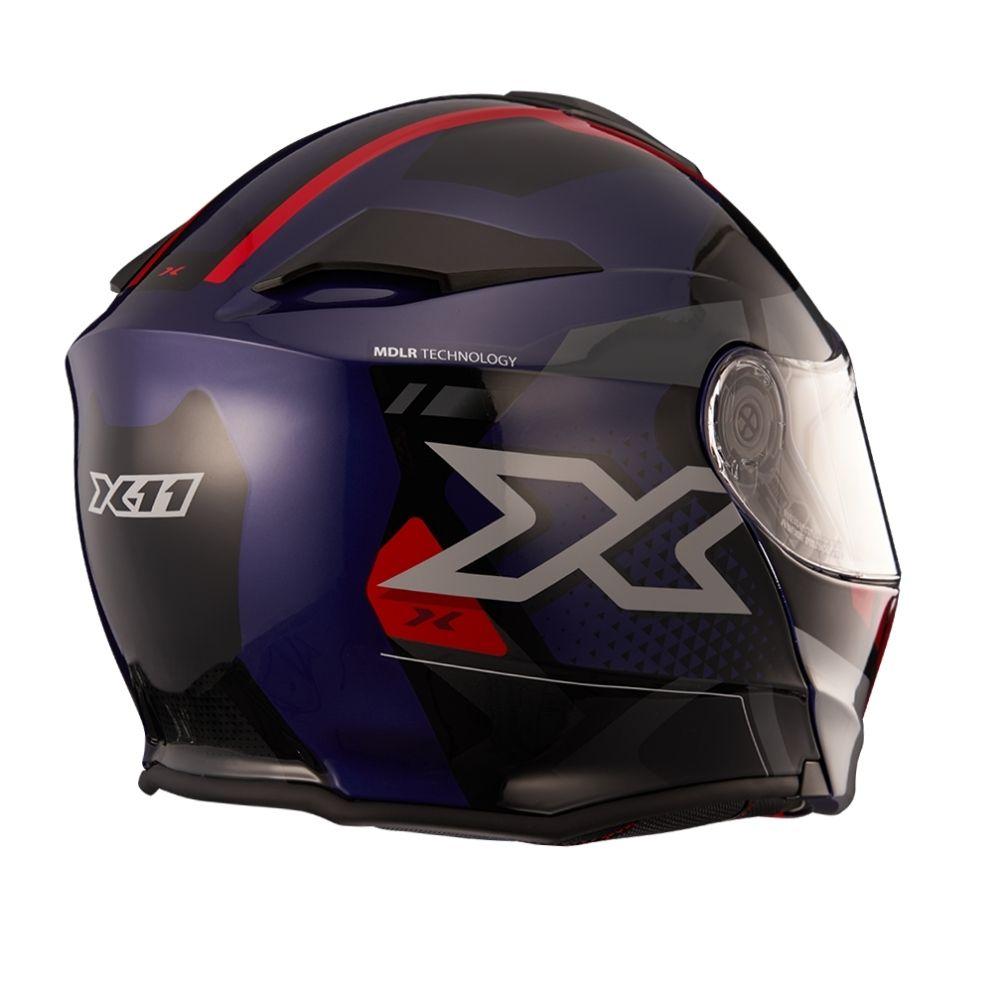 Capacete X11 Turner Prisma Escamoteavel Azul Vermelho