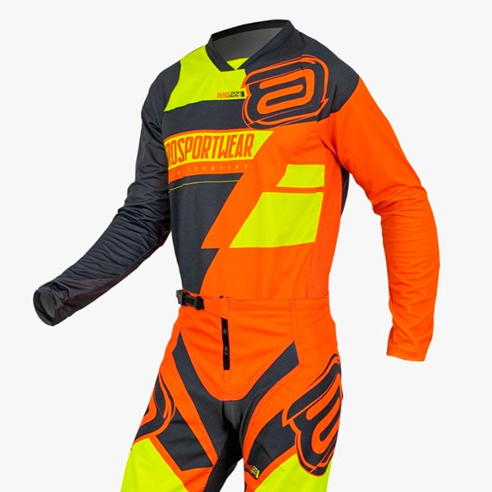 Conjunto ASW Image Moto DNA 2022 Laranja FLuo Amarelo Off Road