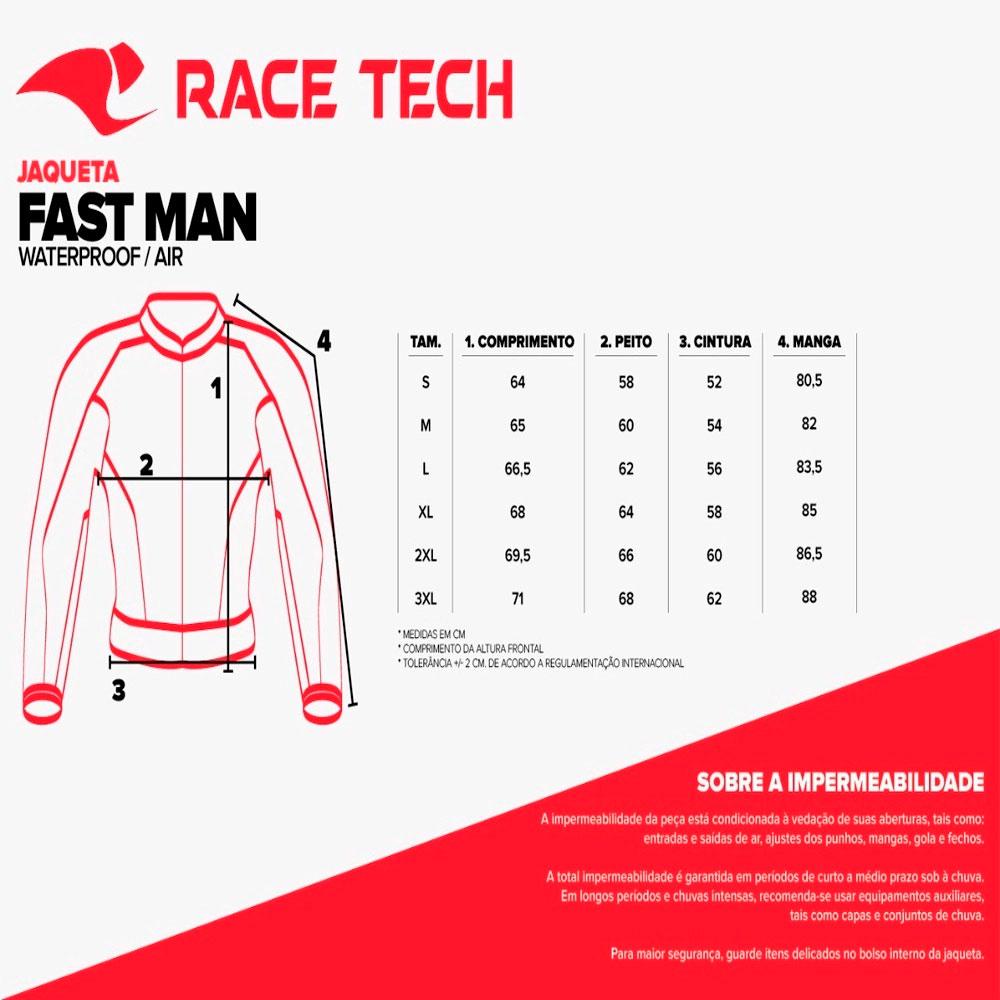 Jaqueta Race Tech Fast Impermeável Preto Vermelho