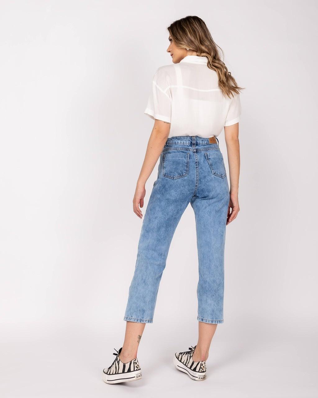Mom Jeans Julia | Lavagem Marmorizada