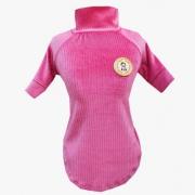 Camiseta Canelada Veludo Rosa