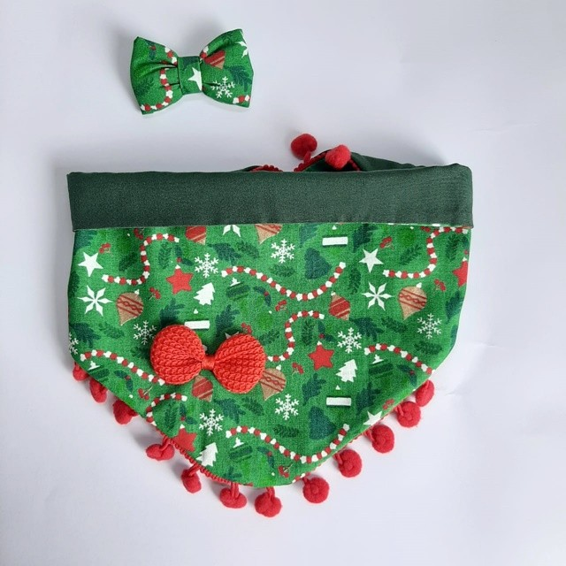 Kit Bandana + Lacinho Natal com Pompom