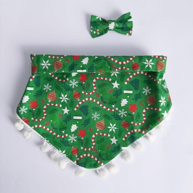 Kit Bandana + Lacinho Natal com Pompom Branco