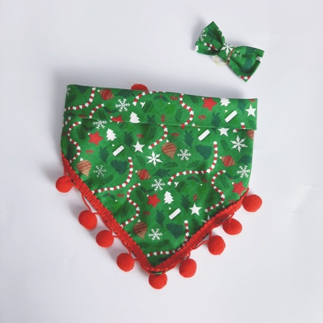 Kit Bandana + Lacinho Natal com Pompom Vermelho