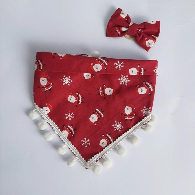 Kit Bandana + Lacinho Natal Vermelho com Pompom Branco