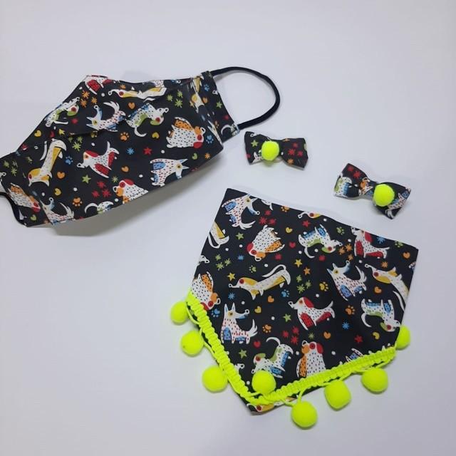 Kit Bandana + Máscara Cachorros Preta
