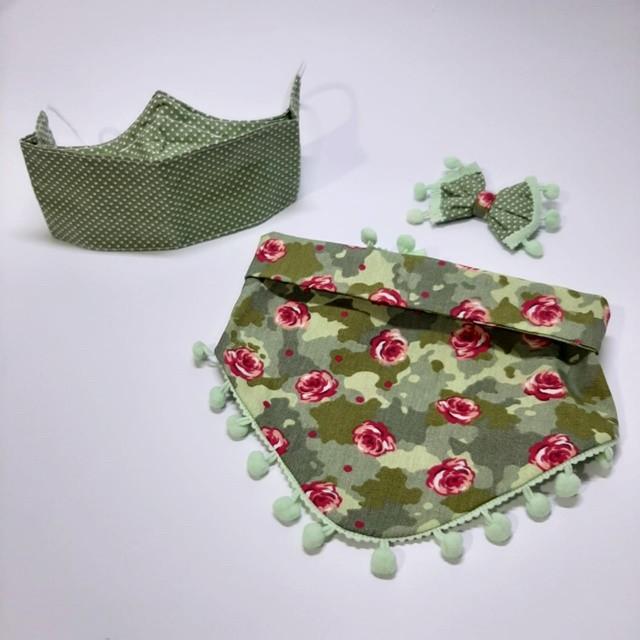 Kit Bandana + Máscara Floral Pompom